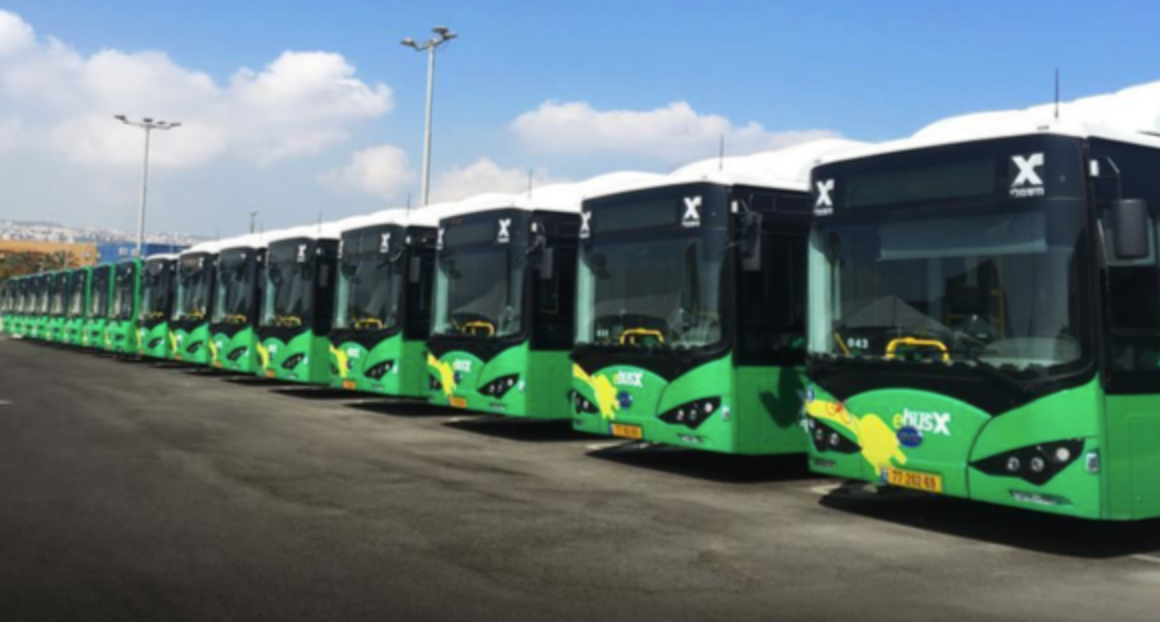 Line up of the BYD 12m ebuses in Haifa, Israel