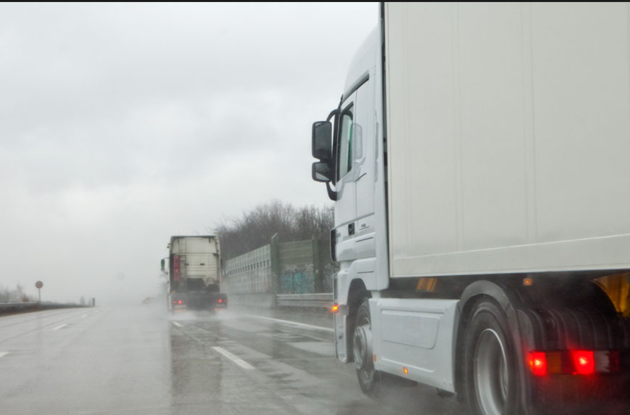 trucks in stormy weather