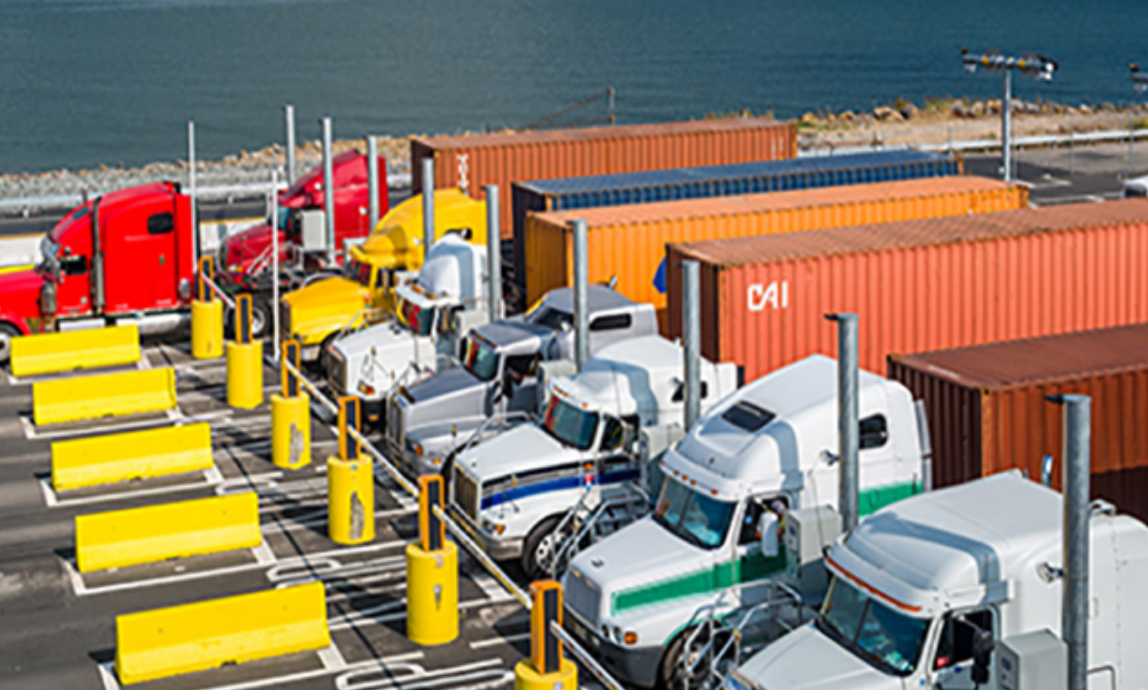 trucks at port