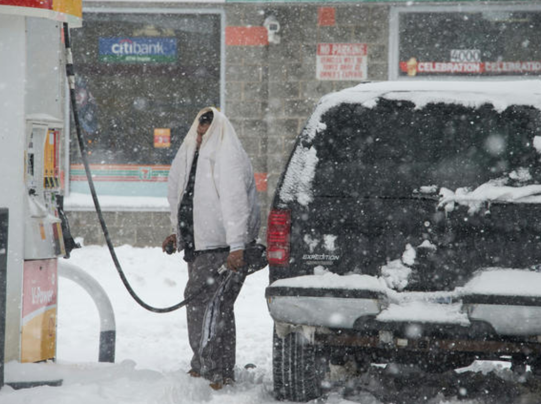 snowing at the pump
