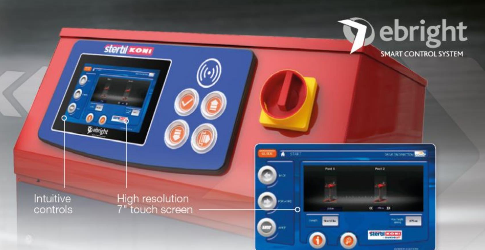 Heavy duty vehicle lift leader Stertil-Koni has incorporated its advanced, full-color, touch-screen control console, known as the ebright Smart Control System, into the company's popular, state-of-the-art high-pressure in-ground telescopic piston lifting system – the DIAMONDLIFT.