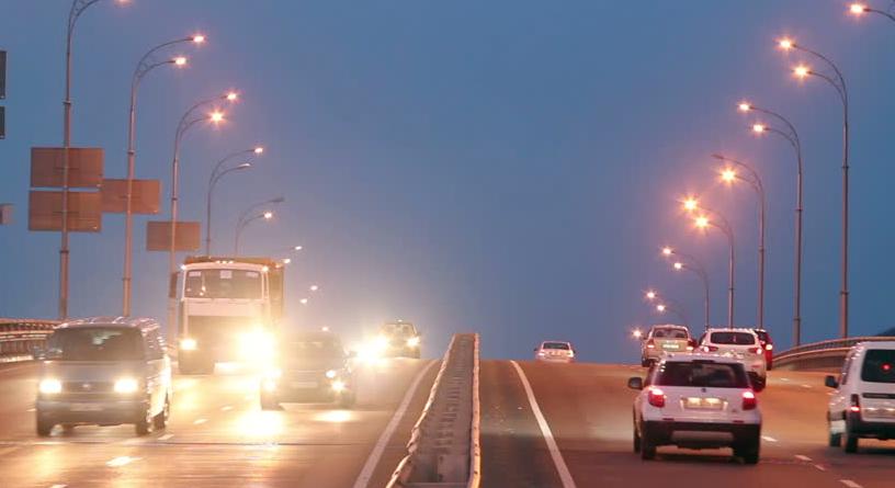 cars on highway, lights on