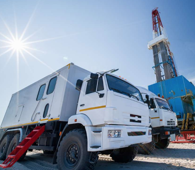 vehicle servicing an oil field