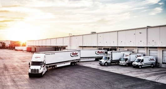 Ryder trucks at loading bay