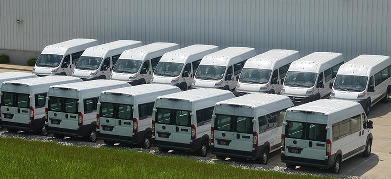 fleet of utility vans