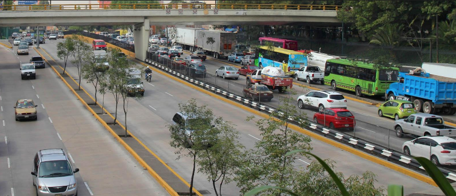 Vehicles on highway in Mexico