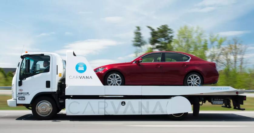 Carvana car on trailer