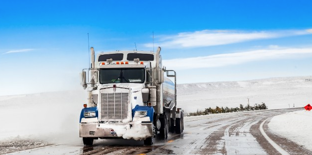 big rig, in snowy conditions