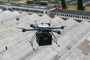 ZF First: Flies Automated Drones over Plant Premises