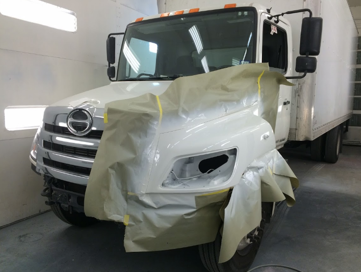 new class 8 truck in paint bay