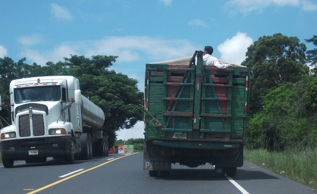trucks on highway in Latin America